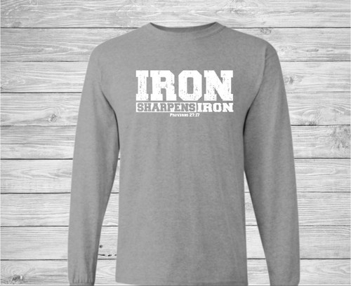 Iron Sharpens Iron Long Sleeve Christian T Shirt by Truth Bomb