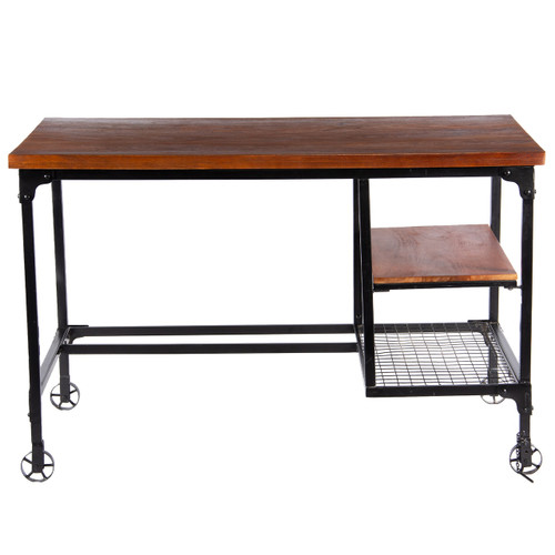 Industrial Style Wood and Metal Desk with Two Bottom Shelves, Brown and Black