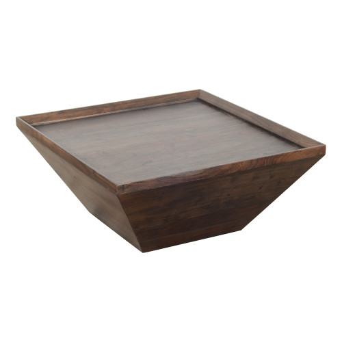 36 inch Square Shape Acacia Wood Coffee Table with Trapezoid Base, Brown