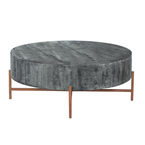 40 inch Round Wooden Coffee Table with Cross Metal Base Support, Gray and Brown