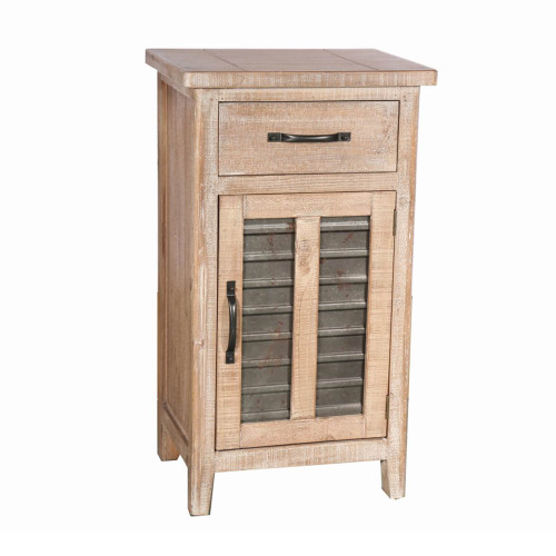 Farmhouse Style Wooden Louvered Door Cabinet with 1 Drawer, Brown, Large
