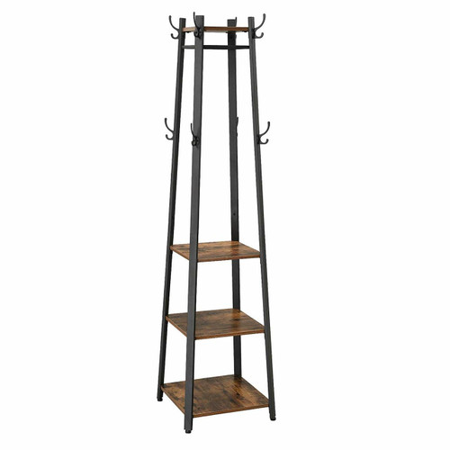Metal Framed Ladder Style Coat Rack with Three Wooden Shelves, Brown and Black