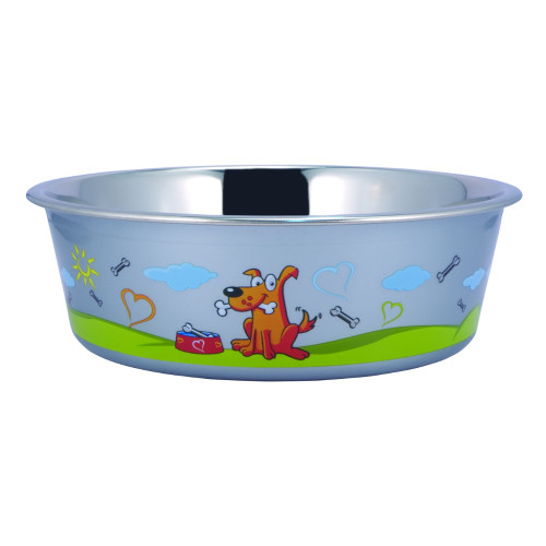 Sneaky Dog Pattern Stainless Steel Pet Bowl with Rubber Base, Multicolor
