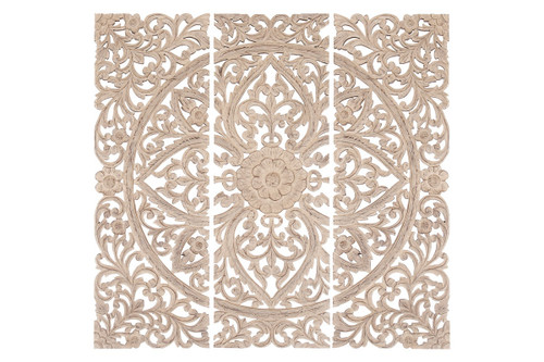 Floral Hand Carved Wooden Wall Plaque, Set of 3, Antique White