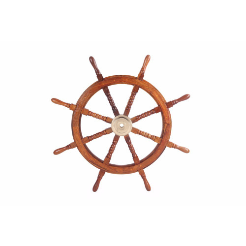 "36"" Teak Wood Ship Wheel with Brass Inset and Eight Spokes, Brown and Gold"