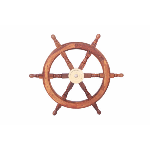"24"" Teak Wood Ship Wheel with Brass Inset and Six Spokes, Brown and Gold"