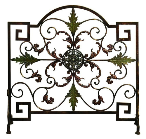 Benzara Domed Top Leaf Patterned Single Panel Metal Fire Screen, Bronze and Green