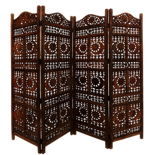 Benzara Hand Carved Sun and Moon Design Foldable 4-Panel Wooden Room Divider, Brown