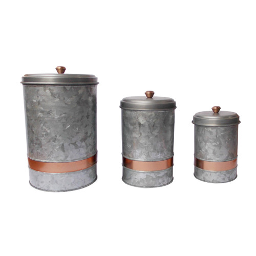 Galvanized Metal Lidded Canister with Copper Band, Set of 3, Gray