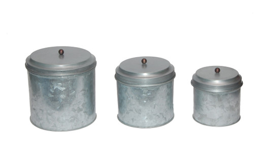 Galvanized Metal Lidded Canister with Ball Knob, Set of 3, Gray