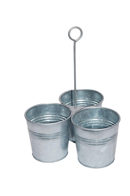 Galvanized Metal Cutlery Holder with Three Buckets and Ring Holder, Gray