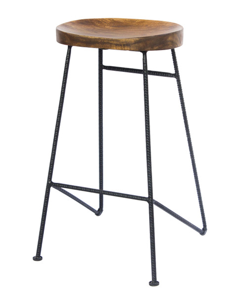 Mango Wood Saddle Seat Bar Stool with Iron Rod Legs, Brown and Black
