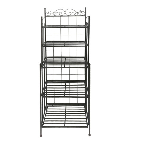 Five Tier Black Storage Metal Bakers Rack with Scrollwork Accents