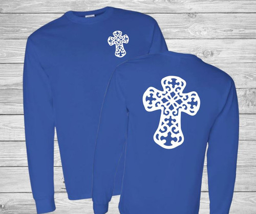 Decorative Cross Long Sleeve Christian T Shirt by Truth Bomb