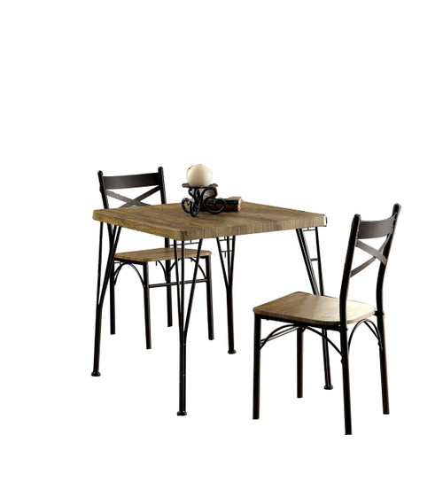 Industrial Style 3 Piece Dining Table Set of Wood and Metal, Brown and Black