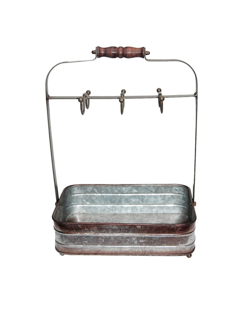Rustic Style Galvanized Metal Crockery Holder with Six Cup Hooks, Gray