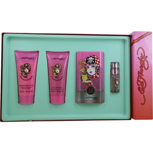 Ed Hardy Born Wild by Christian Audigier Eau De Parfum Spray 3.4 oz & Shimmer Body Lotion 3 oz & Shower Gel 3 oz & Mini Eau De Parfum Spray 0.25 oz