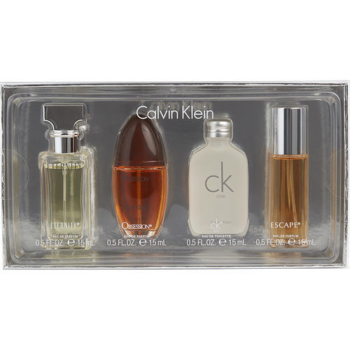 Calvin Klein Variety by Calvin Klein 4 Piece Womens Mini Variety with Eternity & Escape & Obsession & CK One and All Are 0.5 oz