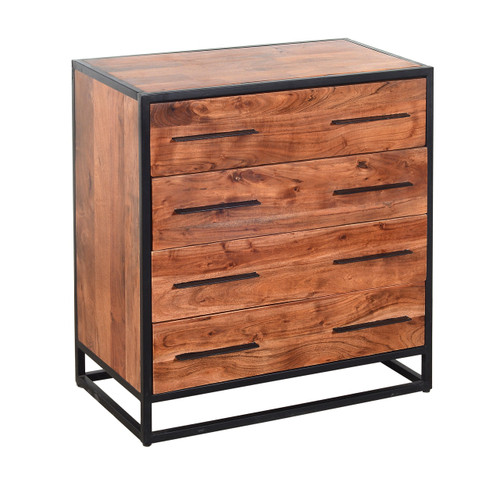 Handmade Dresser with Live Edge Design 4 Drawers, Brown and Black