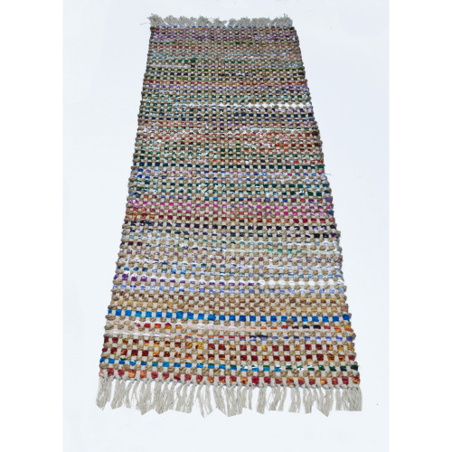 Fringe Ends Jute/recycle Cotton Cuttings Monterey Chindi Rug, Multicolor