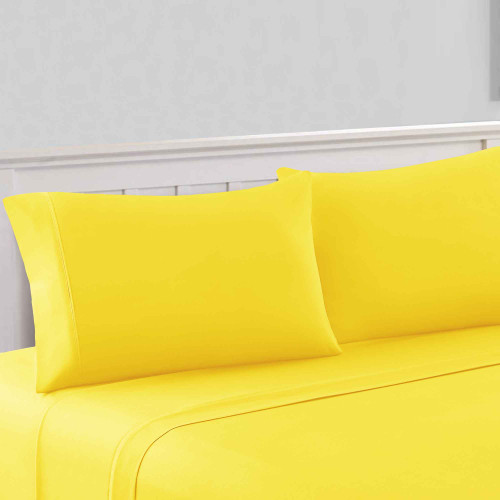 Dunawest Bezons California King Microfiber Sheet, Set of 4, w/ 1800 Thread Count, Yellow