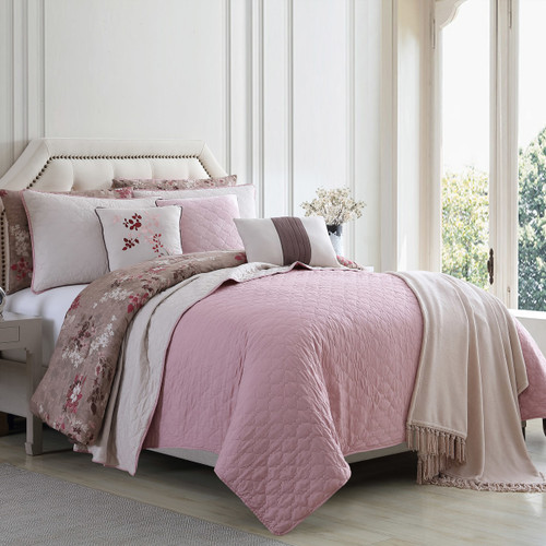 Dunawest Andria 10 Piece Queen Size Comforter and Coverlet Set , Brown and Pink