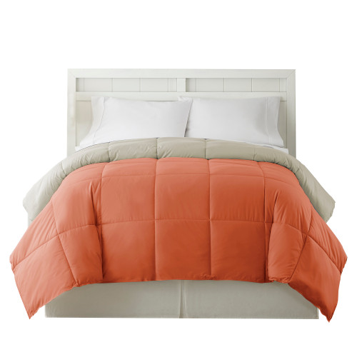 Dunawest Genoa Queen Size Box Quilted Reversible Comforter The Urban Port, Orange and Gray