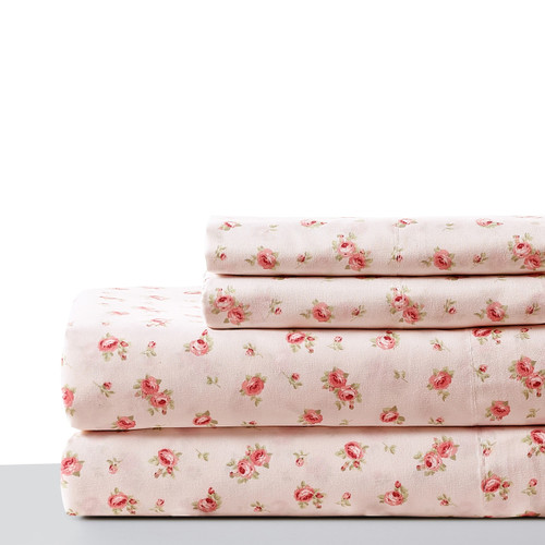 Dunawest Melun 3 Piece Twin Size Sheet Set with Rose Sketch, Pink
