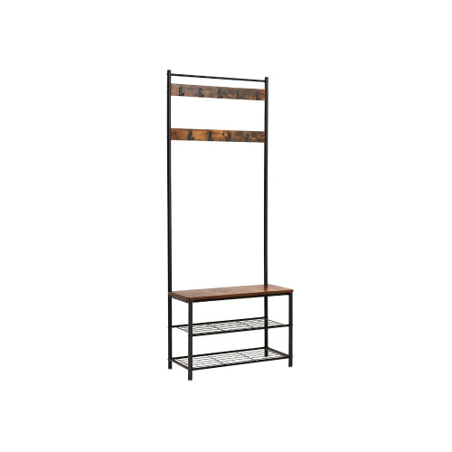 Wood and Metal Frame Hall Tree with Slatted Shelves, Rustic Brown and Black
