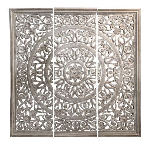 Hand Carved Panels Wooden Wall Art with Cutouts, Set of 3, Distressed White