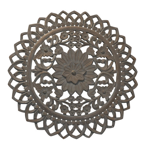 36 Inch Handcarved Wooden Round Wall Art with Floral Carving, Distressed Brown
