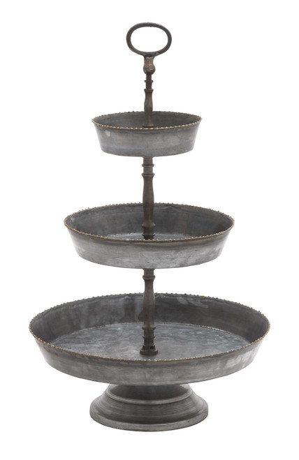 Galvanized 3 Tier Studded Tray in Metal, Silver