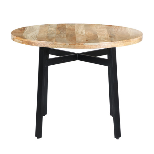 39 Inch Round Mango Wood Dining Table with Angled Iron Leg Support, Brown and Black