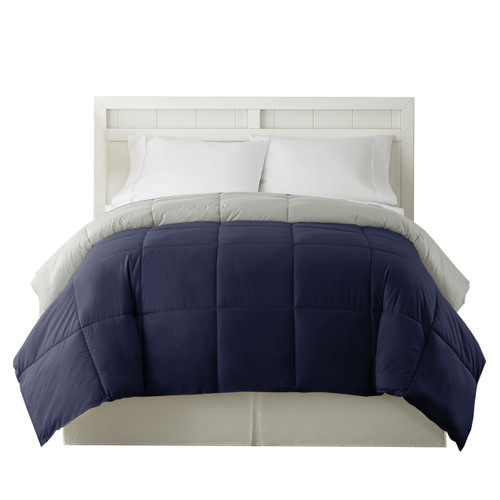 Dunawest Genoa King Size Box Quilted Reversible Comforter, Silver and Blue