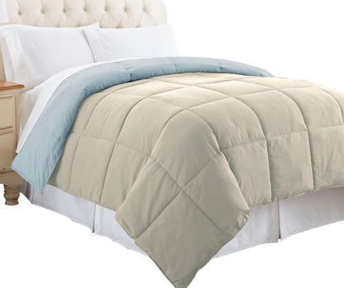 Dunawest Genoa King Size Box Quilted Reversible Comforter, Gray and Blue