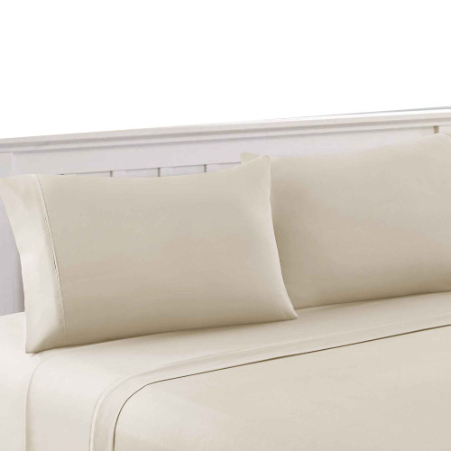 Dunawest Bezons 3 Piece Twin Size Plain Sheet Set , Cream