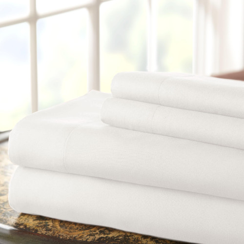 Dunawest Lanester 4 Piece Deep Pocket Microfiber King Size Sheet Set , White