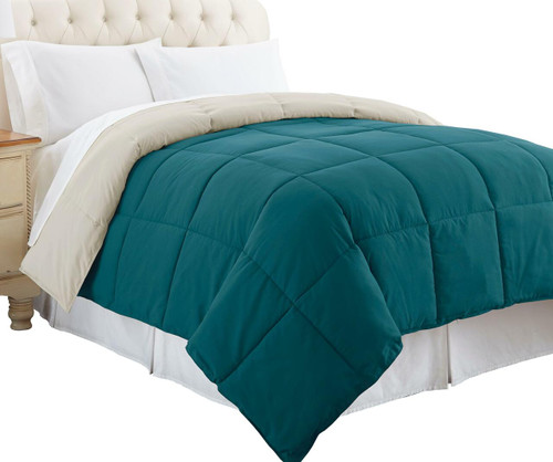 Dunawest Genoa King Size Box Quilted Reversible Comforter, Blue and Gray