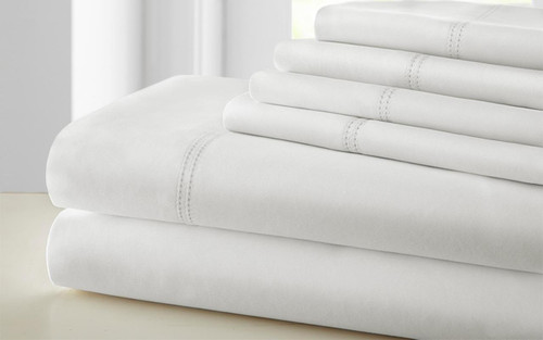 Dunawest Tours 6 Piece Cotton King Size Sheet Set with Double Hem, White