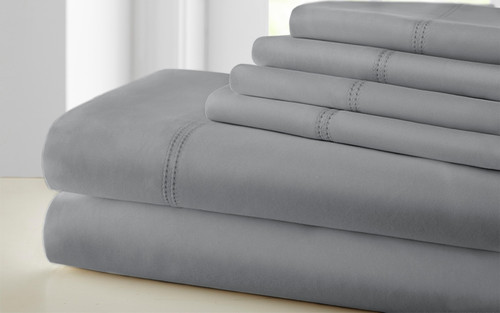 Dunawest Tours 6 Piece Cotton Queen Size Sheet Set with Double Hem, Gray