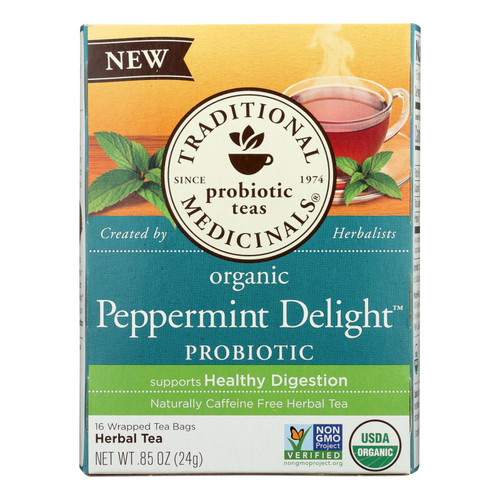 Traditional Medicinals Organic Peppermint Delight® Probiotic Herbal Tea - 96 Bags (Case)