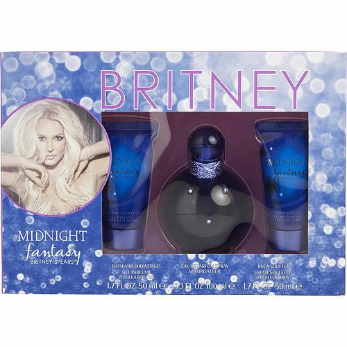 Midnight Fantasy Britney Spears by Britney Spears Eau De Parfum Spray 3.3 oz & Body Souffle 1.7 oz & Shower Gel 1.7 oz