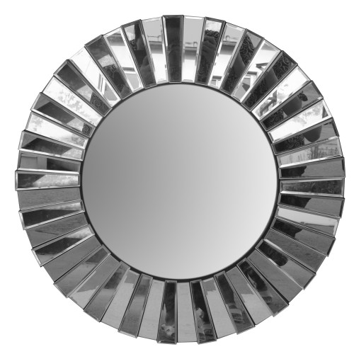 Dunawest 28 Inch Round Floating Wall Mirror With Mirrored Frame Work, Silver