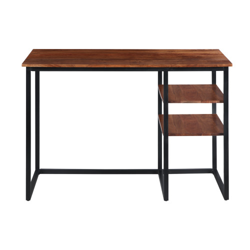 45 Inch Tubular Metal Frame Desk With Wooden Top And 2 Side Shelves, Brown And Black
