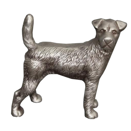 Dunawest Aluminum Table Accent Dog Statuette Decor Sculpture With Textured Details, Silver