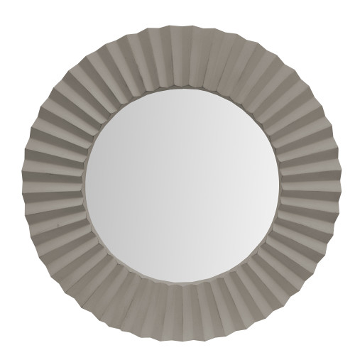 Dunawest 32 Inch Round Beveled Floating Wall Mirror With Corrugated Design Wooden Frame, Gray