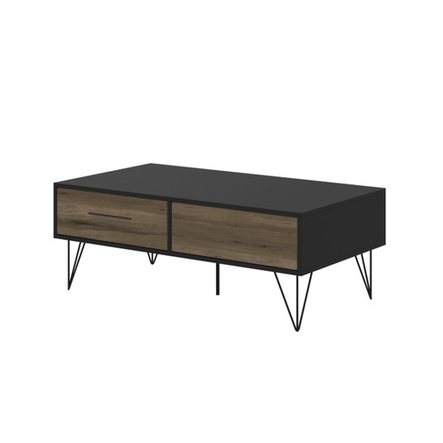 Dunawest 2 Removable Drawer Wooden Coffee Table With Hairpin Legs, Black And Brown