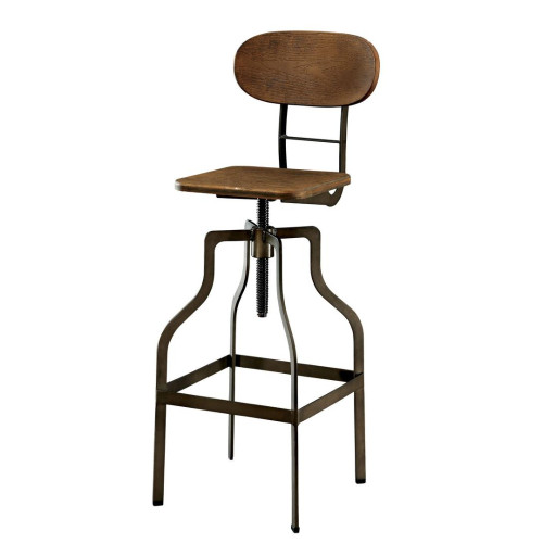 Industrial Style Wooden Swivel Bar Stool with Metal Base, Gray and Brown