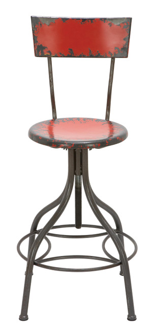 Benzara Industrial Style Metal Bar Chair with Adjustable Seat, Red
