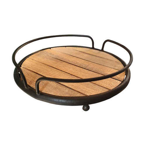 Round Tubular Metal Frame Tray With Plank Style Wooden Base, Brown And Black